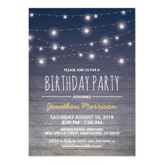 Festa de aniversário adulta azul rústica dos convite 11.30 x 15.87cm