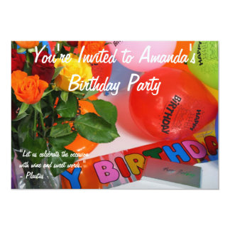 Festa de aniversário adulta convite 12.7 x 17.78cm