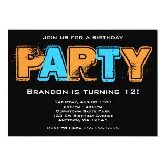 Festa de aniversário alaranjada e azul do Grunge Convite 12.7 X 17.78cm