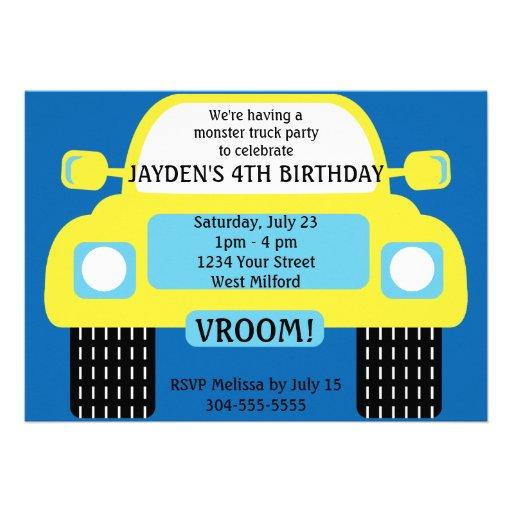 Festa de aniversário amarela do monster truck convite