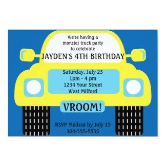 Festa de aniversário amarela do monster truck convite 12.7 x 17.78cm