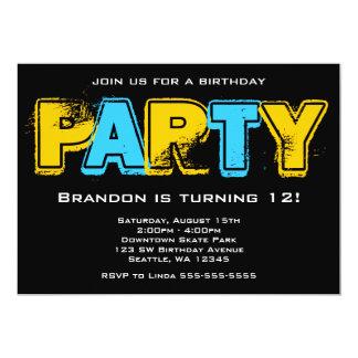 Festa de aniversário amarela e azul do Grunge Convite 12.7 X 17.78cm