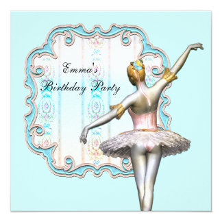 Festa de aniversário azul da bailarina das meninas convite quadrado 13.35 x 13.35cm