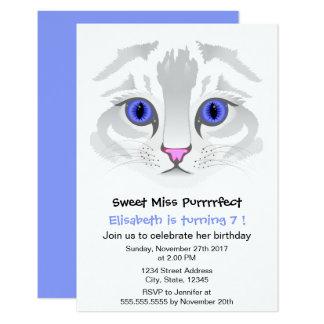 Festa de aniversário azul da menina dos desenhos convite 8.89 x 12.7cm
