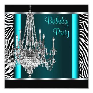 Festa de aniversário azul da zebra da cerceta do convite