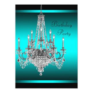 Festa de aniversário azul do candelabro da cerceta convites personalizados