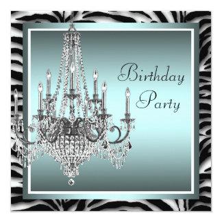 Festa de aniversário azul do candelabro da zebra convite quadrado 13.35 x 13.35cm