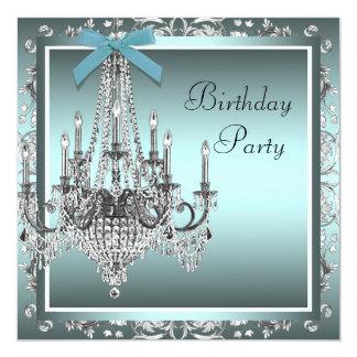 Festa de aniversário azul do candelabro do damasco convite personalizados