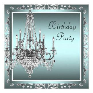 Festa de aniversário azul do candelabro do damasco convites