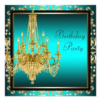 Festa de aniversário azul do candelabro do damasco convite personalizado