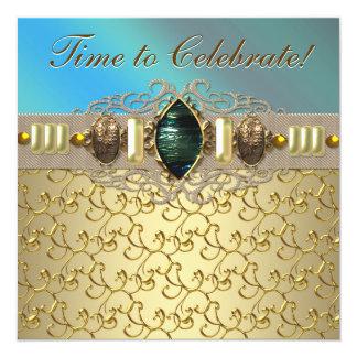 Festa de aniversário azul do ouro da cerceta convite quadrado 13.35 x 13.35cm
