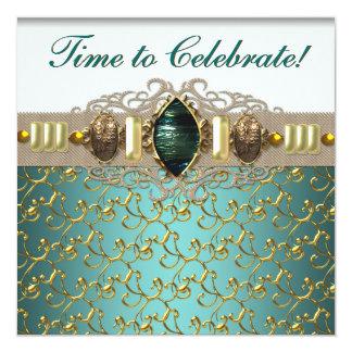 Festa de aniversário azul do ouro do jade da convite quadrado 13.35 x 13.35cm