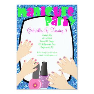 Festa de aniversário azul dos termas do Manicure Convite 12.7 X 17.78cm