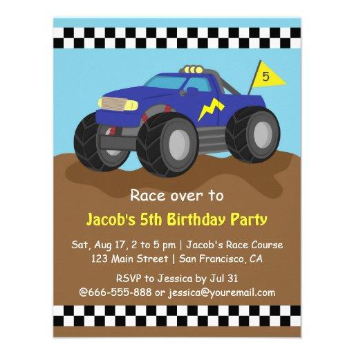 Festa de aniversário azul legal do monster truck convites personalizado