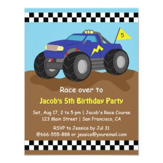 Festa de aniversário azul legal do monster truck convite 10.79 x 13.97cm