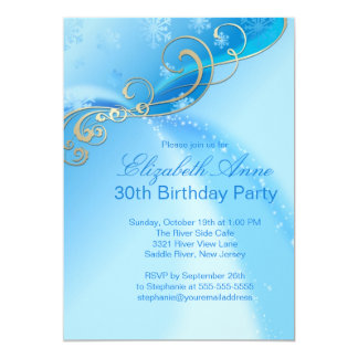 Festa de aniversário azul moderna do inverno dos convite 12.7 x 17.78cm