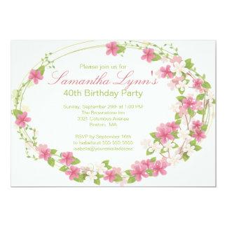 Festa de aniversário bonito da grinalda da flor da convite 12.7 x 17.78cm