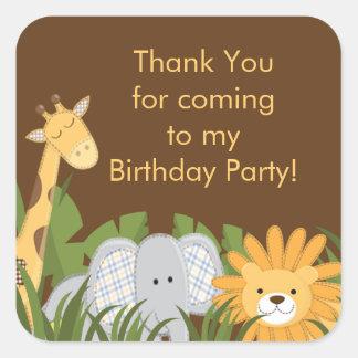 Festa de aniversário bonito da selva do safari adesivo em forma quadrada