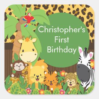 Festa de aniversário bonito da selva do safari adesivos quadrados
