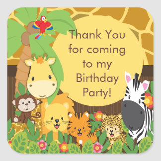 Festa de aniversário bonito da selva do safari adesivo quadrado