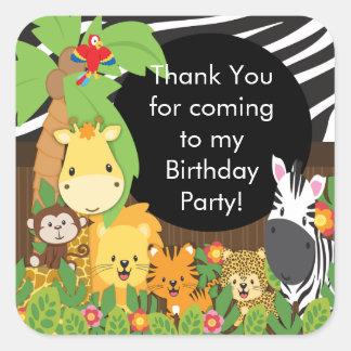 Festa de aniversário bonito da selva do safari adesivo