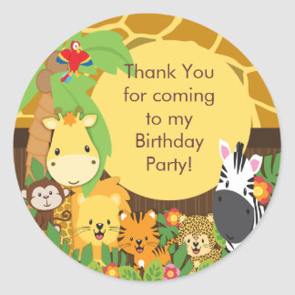 Festa de aniversário bonito da selva do safari adesivo em formato redondo