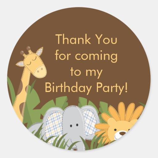 Festa de aniversário bonito da selva do safari adesivos redondos