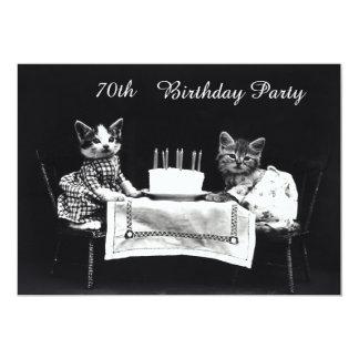 Festa de aniversário bonito do 70 dos gatinhos do convites personalizado