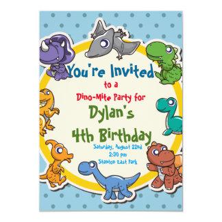 festa de aniversário bonito do dinossauro convite 12.7 x 17.78cm