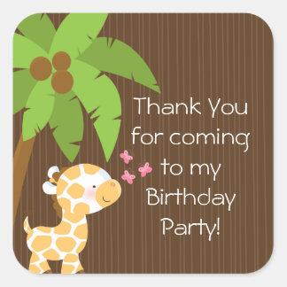 Festa de aniversário bonito do girafa da selva do adesivo em forma quadrada