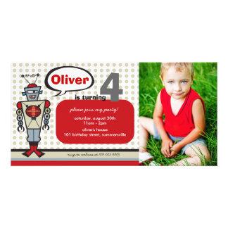 Festa de aniversário bonito do menino dos miúdos cartoes com fotos personalizados