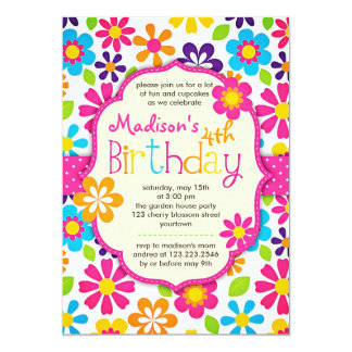 Festa de aniversário bonito do primavera colorido convite personalizado