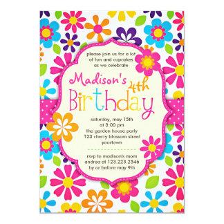 Festa de aniversário bonito do primavera colorido convite 12.7 x 17.78cm