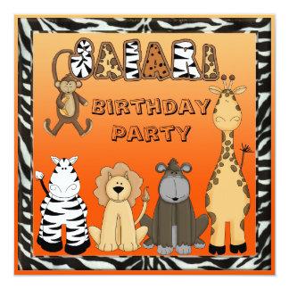 Festa de aniversário bonito dos animais do safari convites personalizado