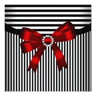 Festa de aniversário branca da listra do preto convite quadrado 13.35 x 13.35cm
