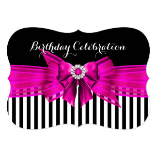Festa de aniversário branca da listra do preto do convite 12.7 x 17.78cm