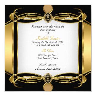 Festa de aniversário branca da pérola do preto convite quadrado 13.35 x 13.35cm