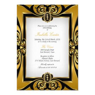 Festa de aniversário branca da pérola do preto do convite 12.7 x 17.78cm