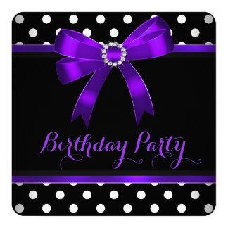 Festa de aniversário branca das bolinhas do preto convite quadrado 13.35 x 13.35cm