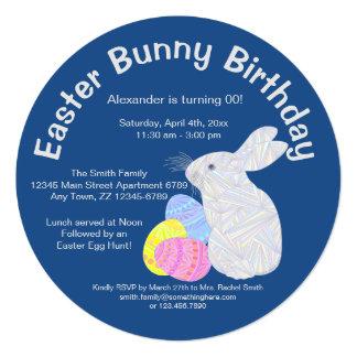 Festa de aniversário branca do coelhinho da Páscoa Convite Personalizados