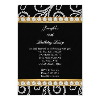 Festa de aniversário branca do diamante do preto convite 12.7 x 17.78cm
