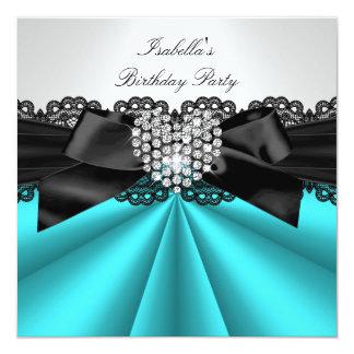 Festa de aniversário branca do diamante do preto convite quadrado 13.35 x 13.35cm
