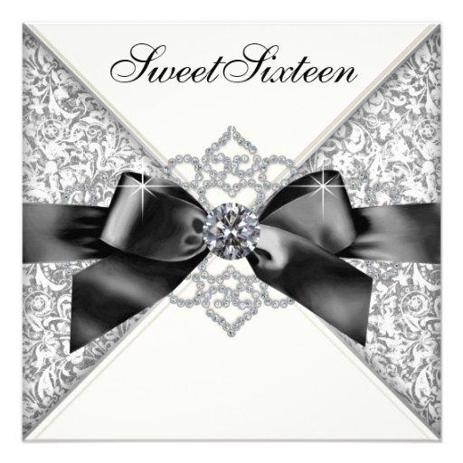 Festa de aniversário branca do doce 16 do preto br convite personalizados