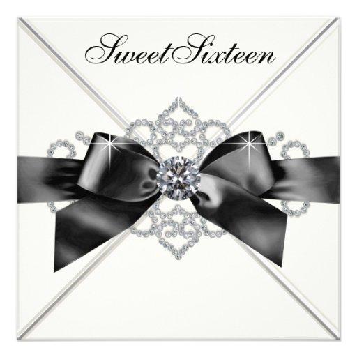 Festa de aniversário branca do doce 16 do preto br convite personalizado