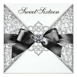 Festa de aniversário branca do doce 16 do preto convite personalizados