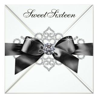 Festa de aniversário branca do doce 16 do preto convite quadrado 13.35 x 13.35cm