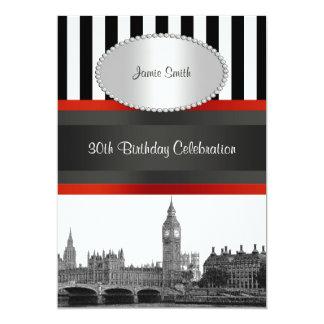 Festa de aniversário branca do vermelho do preto convite