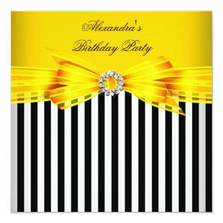 Festa de aniversário branca preta amarela lindo da convite quadrado 13.35 x 13.35cm