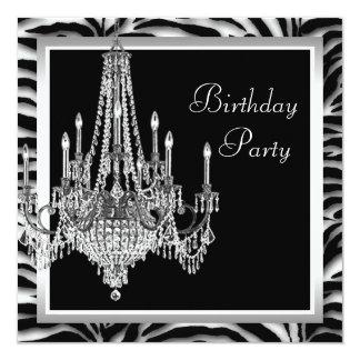 Festa de aniversário branca preta da zebra do convite personalizados