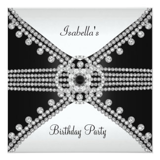 Festa de aniversário branca preta das jóias dos